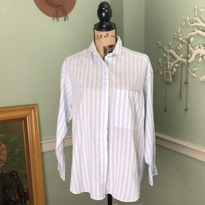 Vintage DVF Soft Blue White Button Down Shirt M